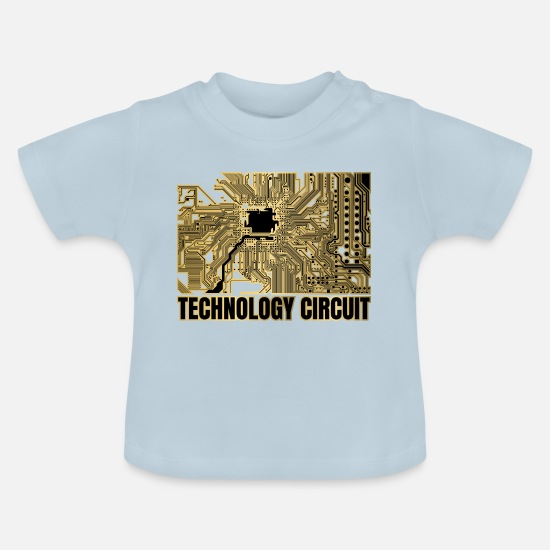 Funny Baby Clothes - Technology circuit - Baby T-Shirt light blue