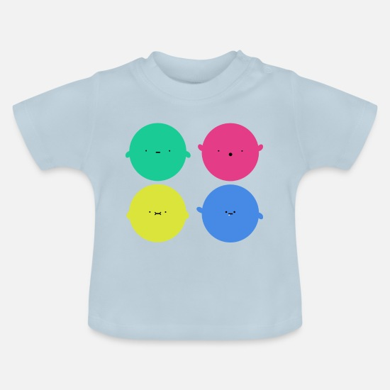Hipster Baby Clothes - Sweet ball faces - Baby T-Shirt light blue