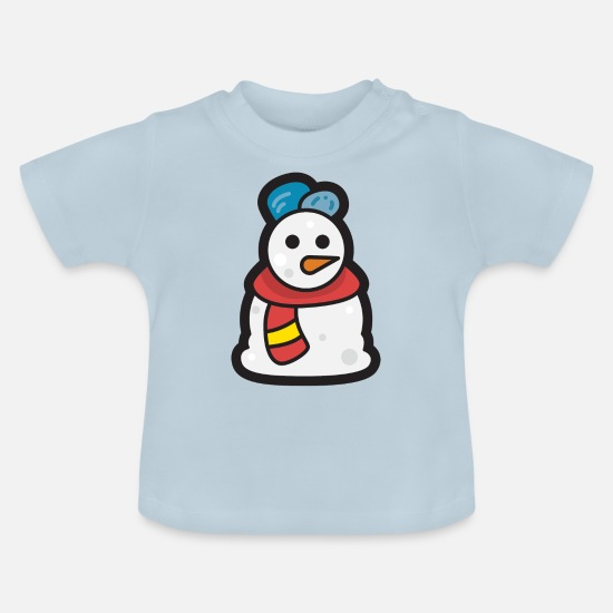 Santa Baby Clothes - Snowman - Merry Christmas - Baby T-Shirt light blue
