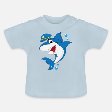 Cool shark in police uniform - cute kids motive - Baby T-Shirt