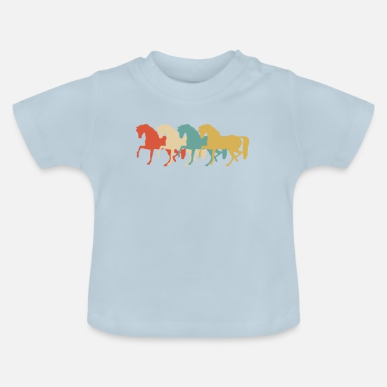 Horse Baby Clothes - Retro horses herd stall - Baby T-Shirt light blue