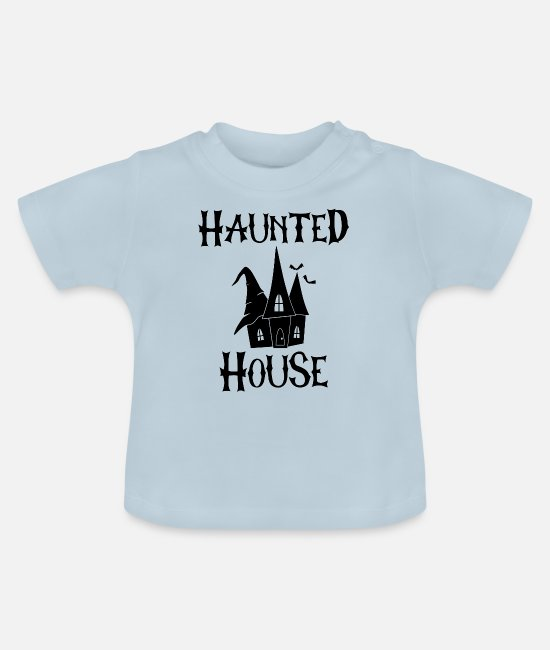 Bats Baby T-Shirts - HALLOWEEN HAUNTED HOUSE - Baby T-Shirt light blue