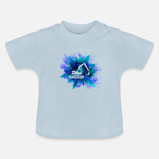 Construction Baby Clothes - Excavator construction site construction machine gift · silhouette - Baby T-Shirt light blue