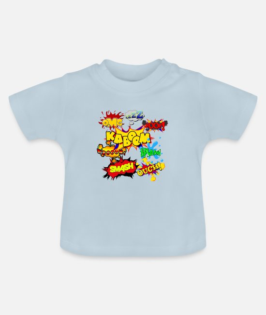 Kaboom Baby T-Shirts - Cartoon comic shirt motif kaboom omg zzz splash fo - Baby T-Shirt light blue