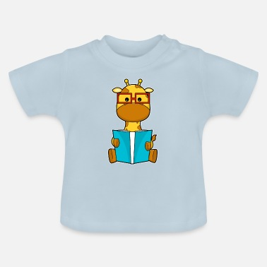 Baby Giraffe as a nerd with a book and glasses - Baby T-Shirt