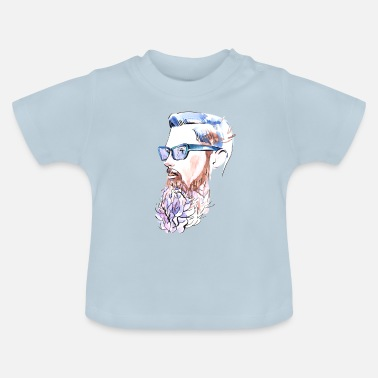Painter Man med skägg akvarell illustration - Baby-T-shirt