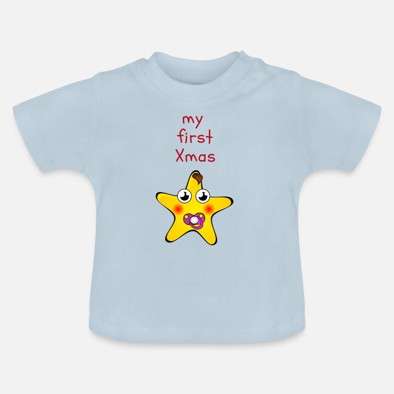 huge discount 03e77 5cfa7 Mein erstes Weihnachten. Baby's erstes Xmas Baby T-Shirt - Hellblau