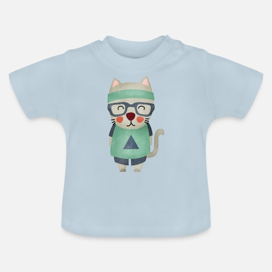 Love Baby Clothes - Monsieur Cat - Baby T-Shirt light blue