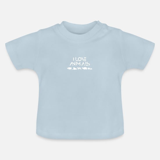 Nature Conservation Baby Clothes - I love animals - Baby T-Shirt light blue