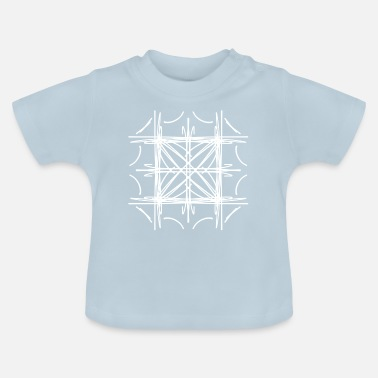 Symmetry Mirroring Abstract lines strokes doodle symmetry star - Baby T-Shirt