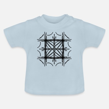 Symmetry Mirroring Abstract lines strokes doodle symmetry - Baby T-Shirt