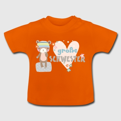 big sister bear heart and glitter - Baby T-Shirt