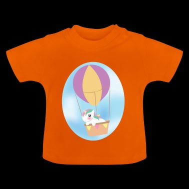 Unicorn in the hot air balloon - Baby T-Shirt