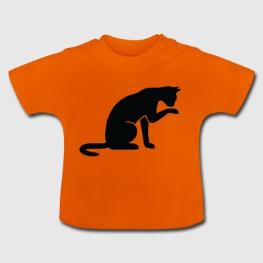 A Cat Licking Its Paw - Baby T-Shirt
