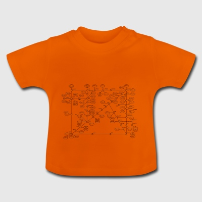 1974 Internet Map - Negro - Camiseta bebé
