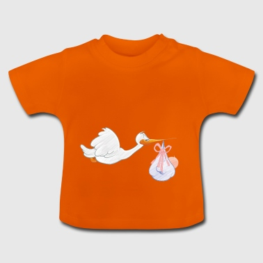 Stork with toddler - Baby T-Shirt