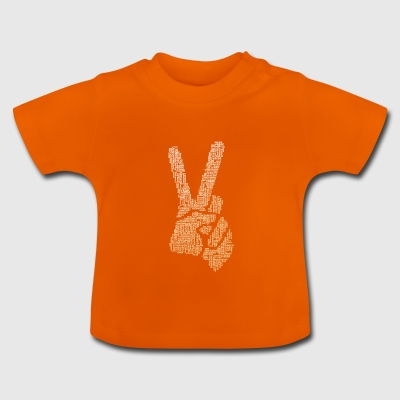Victory sign finger typo hand big V demo cool f - Baby T-Shirt