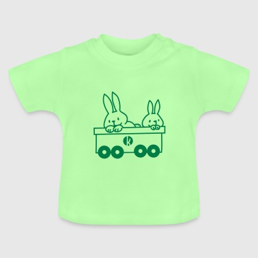 Hasen im Eisenbahnwagen - Rabbits in the train - Baby T-shirt