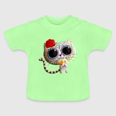 The Day of The Dead Cute White Cat Buttons - Baby T-Shirt
