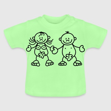 Adam and Eve with a fig leaf - Baby T-Shirt