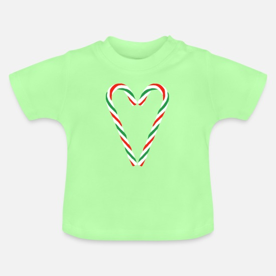 Love Baby Clothes - Candy Cane Heart - Baby T-Shirt mint green