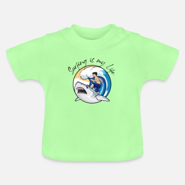 Wait Surfing is my Life Shirt surfing shark surfing - Baby T-Shirt