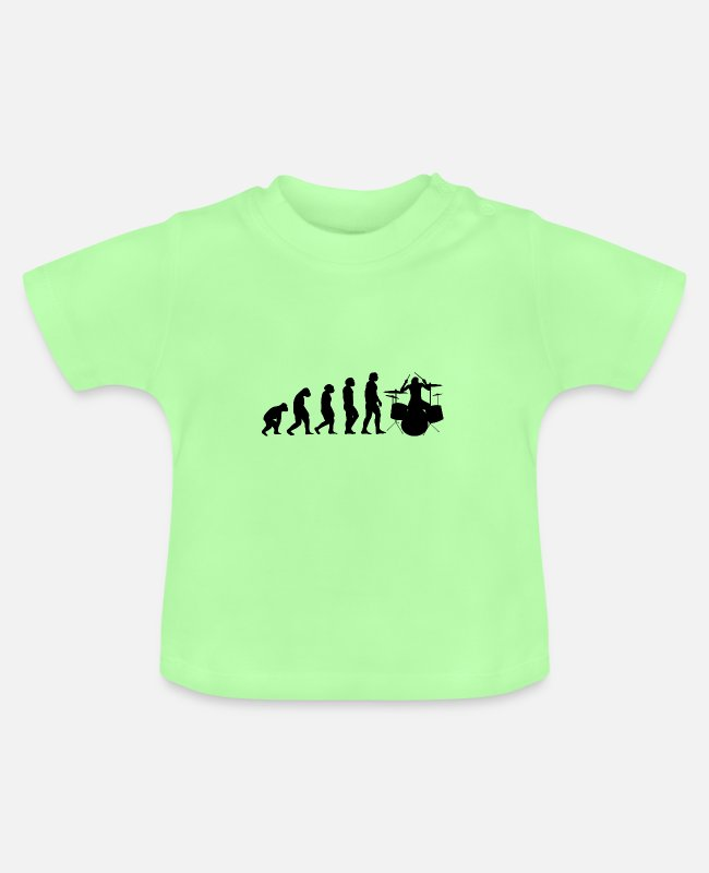 Drummer Baby T-Shirts - Drums drummer Evolution II - Baby T-Shirt mint green