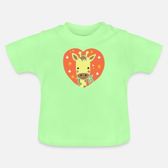 School Girls Baby Clothes - Giraffe heart gift - Baby T-Shirt mint green