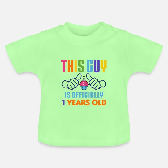 Birthday Baby Clothes - This Guy Officially 1 Years Old - Baby T-Shirt mint green