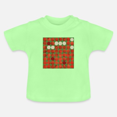 Tree Square apples pattern - red on green - Baby T-Shirt