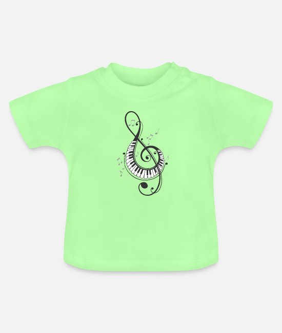 Birthday Baby Clothes - Sheet music Melody Clef Musician Octave Violin - Baby T-Shirt mint green