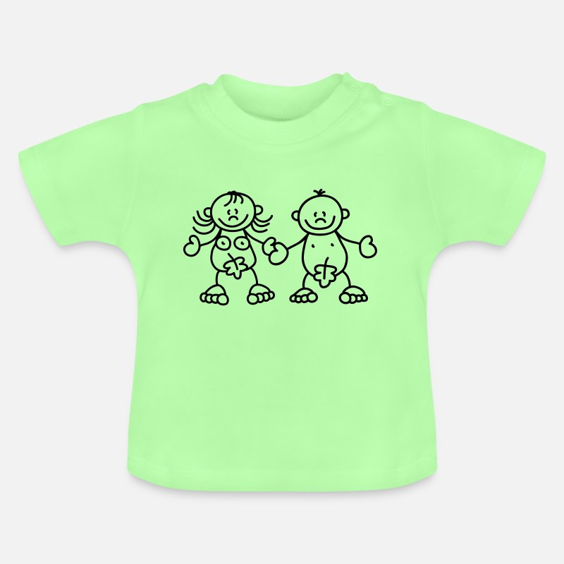 Eve Baby Clothing - Adam and Eve with a fig leaf - Baby T-Shirt mint green