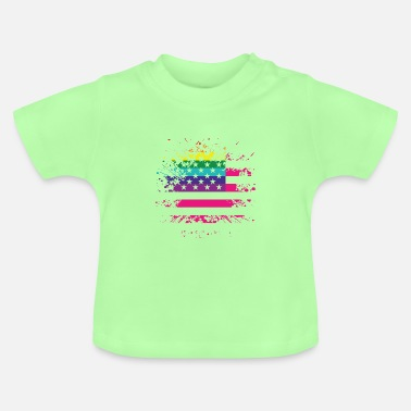 USA flag with LGBT rainbow - Baby T-Shirt