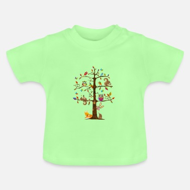 Nature colorful animals on a tree - Baby T-Shirt