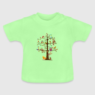 colorful animals on a tree  - Baby T-Shirt