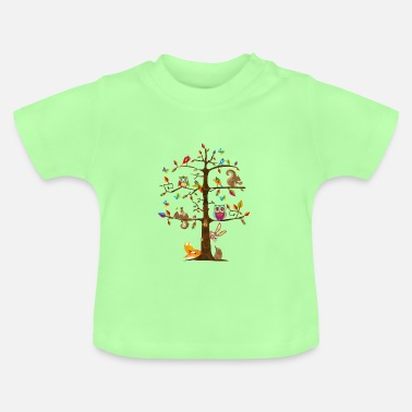 Tree colorful animals on a tree  - Baby T-Shirt