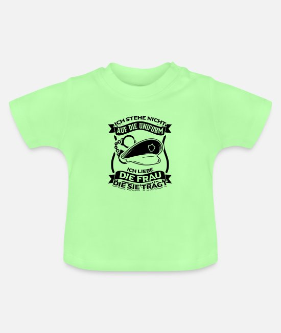 Wife Baby Clothes - I Love The Woman Not The Uniform Policewoman - Baby T-Shirt mint green