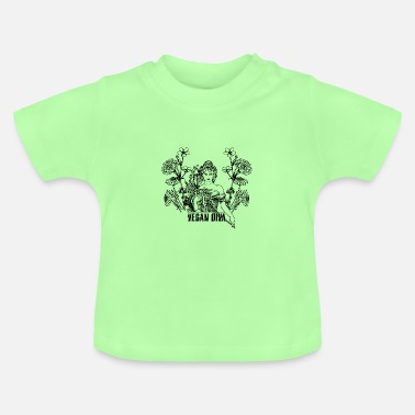 Vegan Diva - lady with flowers - Baby T-Shirt