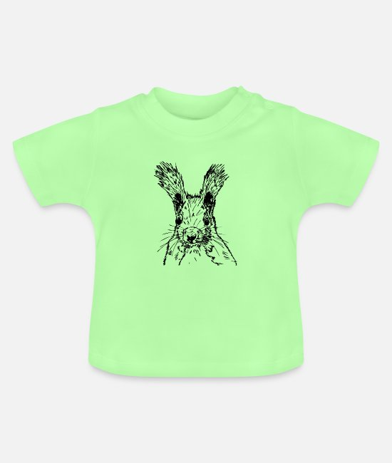 Nature Baby T-Shirts - squirrel drawing - Baby T-Shirt mint green
