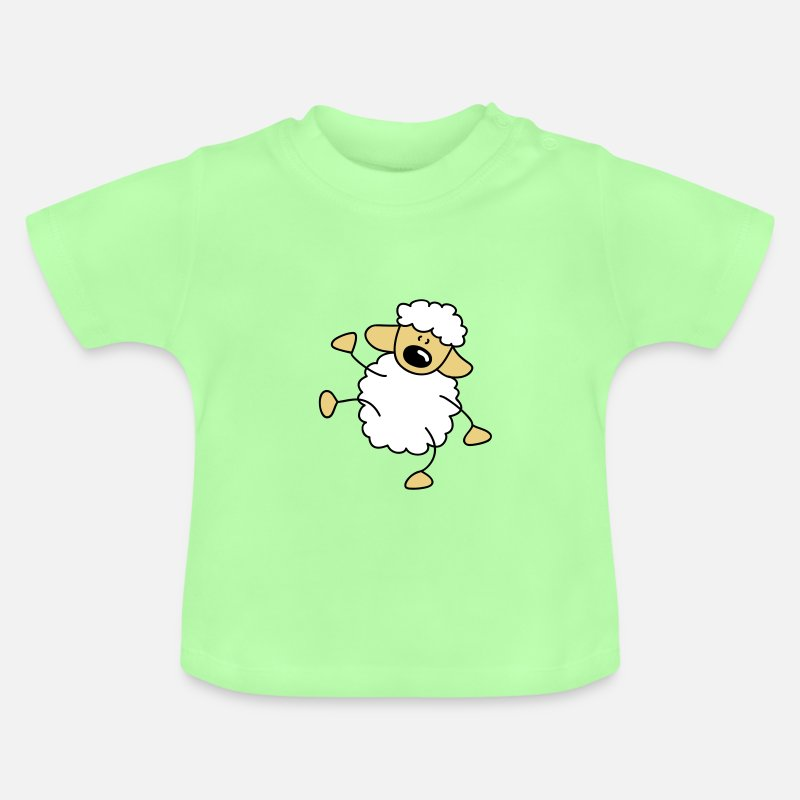 Pole Dance Baby Clothing - Small dancing sheep - Baby T-Shirt mint green