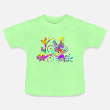 Chic Naive painting bird bouquet 4 - Baby T-Shirt