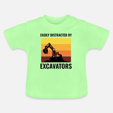Civil Engineering Job Excavator Heavy Equipment Operator Vintage Retro - Baby T-Shirt