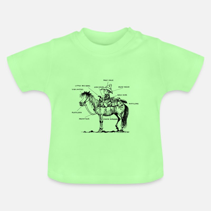 Western Riding Baby Clothing - Thelwell 'Learning Western riding' - Baby T-Shirt mint green