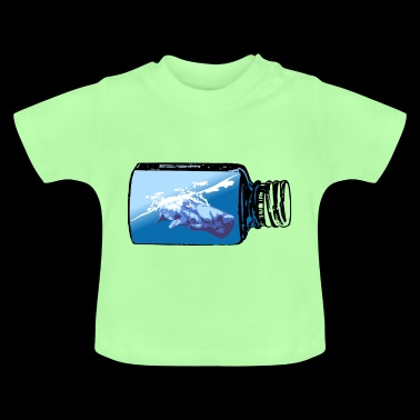 Blue whale in bottle - gift idea Protest demo - Baby T-Shirt