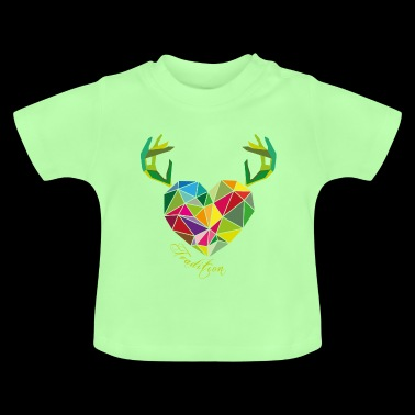 Poly heart with antlers | tradition - Baby T-Shirt