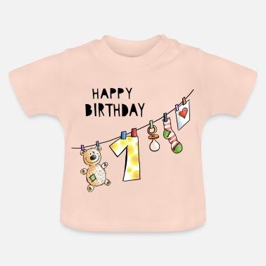 0863436c807ad Anniversaire Joyeux anniversaire - premier anniversaire - bébé - doux -  T-shirt Bébé
