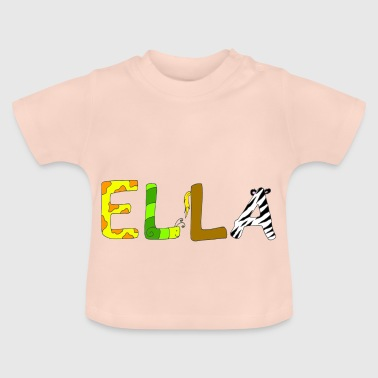 Name Ella with animal letters - Baby T-Shirt