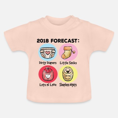 Pregnancy Announcement 2018 Forecast Mom Dad Pregnancy Announcement - Baby T-Shirt
