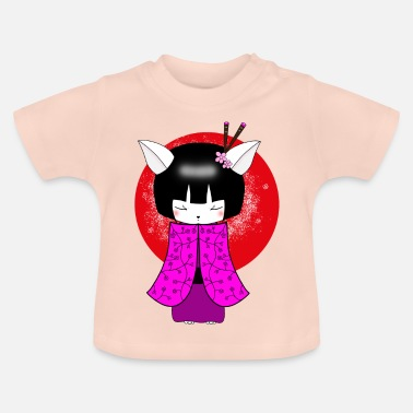 Japanese Art Kokeshi Cat Japanese art geisha - Baby T-Shirt