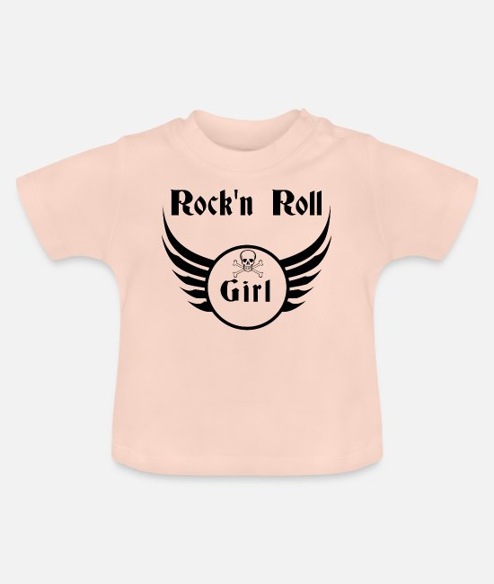 Alphabet Baby T-Shirts - Rock and roll girl - Baby T-Shirt crystal pink